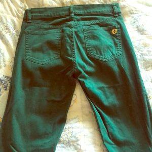 Tory Burch forest green skinny jean